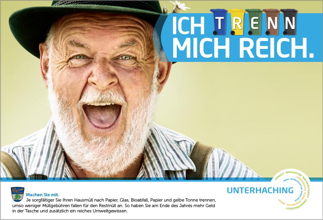 gemeinde unterhaching, plakat fuer muellsammelkampagne