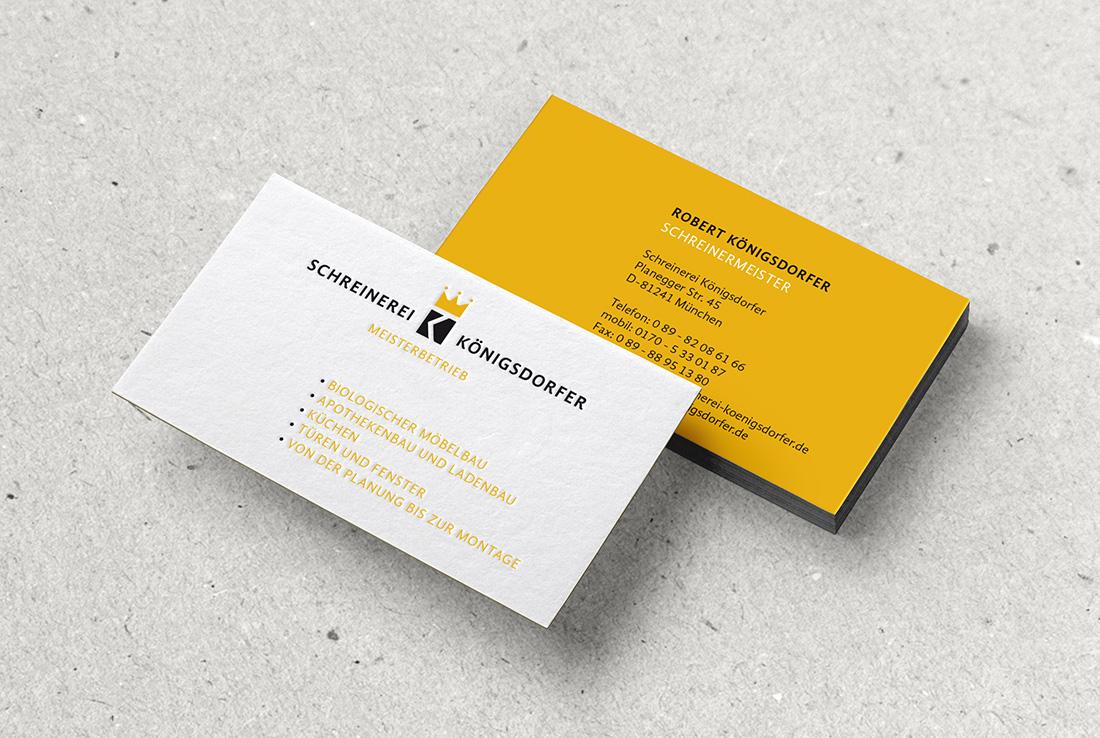 schreinerei-koenigsdorfer-logo, corporate design, visitenkarte