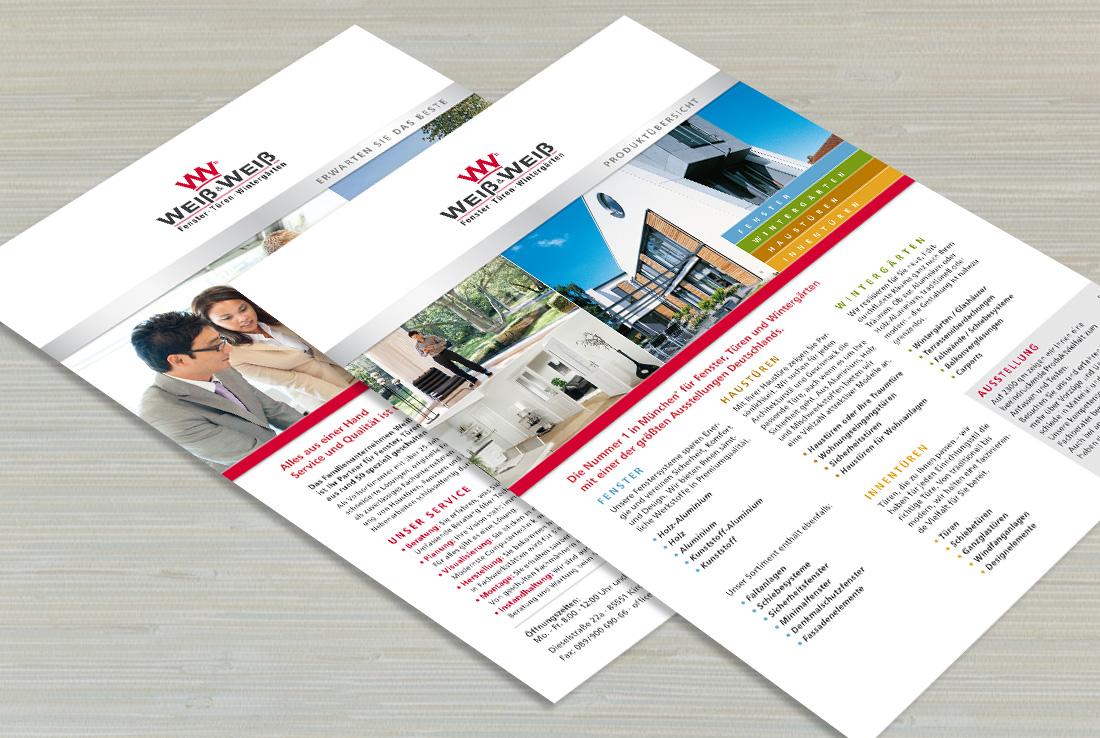 weiß und weiß, corporate design verschiedene Flyer