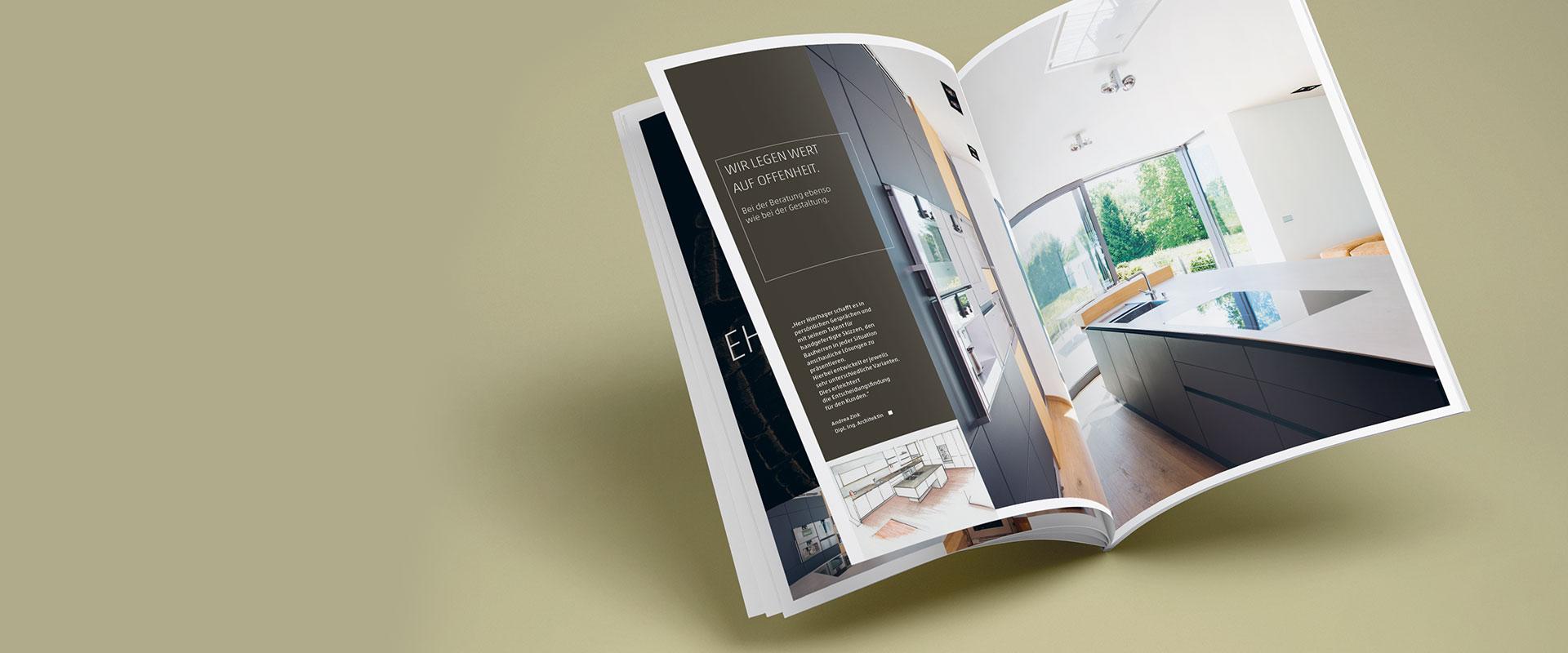 Editorial Design für Küchen Broschüre von Loft78